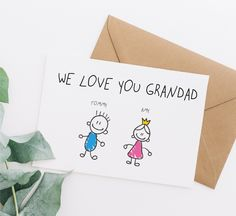 We love you grandad card, fathers card for grandad, fathers day card for grandpa, grandad birthday card, personalised fathers day card, fd48 Our Love, Love You, Funny Fathers Day Card, Make Your Own Card, Funny Greeting Cards, Birthday Cards, Place Card Holders, White Paper, Royal Mail