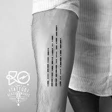 morse code tattoo     --. --- --- -.. -... -.-- . / .-.. --- ...- .