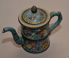 Cloissne Enameled metal turquoise signed Japanese or Chinese Oriental Tea or Coffee by justbecauseshecan on Etsy