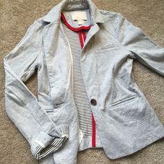 Banana Republic Women's Gray Cotton One Button Blazer Sweater EUC Size Small   eBay