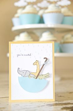 5/5 love this card. Would love it but not sure if it would go with the moustache theme Rain Drops Baby Shower