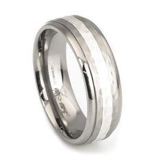 Silver stripe hammer finish titanium wedding rings for men