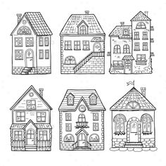 Cute little houses and different roofs. Doodle vector illustration of home. Architecture hand drawn house with window and door : Cute little houses and different roofs. Doodle vector illustration of home. Architecture hand drawn house with window and door Building Illustration, House Illustration, Doodle Drawings, Doodle Art, House Doodle, Cute Little Houses, House Vector, House Drawing, House Sketch