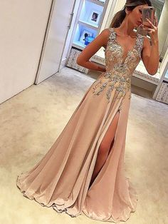 Customized Beautiful Prom Dress With Appliques Sexy Prom Dress,Deep V Neck Prom Dresses With Split Side,Appliques Prom Gowns,A Line Prom Gown,Long Prom Dress Split Prom Dresses, V Neck Prom Dresses, Unique Prom Dresses, Satin Dresses, Pretty Dresses, Evening Dresses, Formal Dresses, Dresses Dresses, Chiffon Dresses