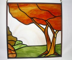 Fall Tree Landscape Stained Glass Panel Fall Colors by BerlinGlass