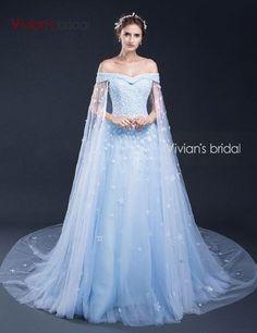 Vivian's Bridal Long Tulle A-Line Evening Dresses Appliqueswith Flowers Blue Evening Gowns Dresses robe de soiree SQ50525