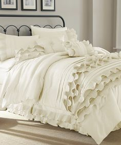 Pearl White Eight-Piece Anastacia Ruffle Comforter Set by Colonial Home Textiles #zulily #zulilyfinds