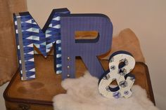 Blue and White 12 MR & MRS sign. Great for wedding decor and a first home!