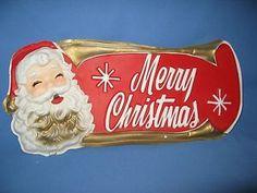 Cute Vintage Santa Merry Christmas Plastic Sign Retro Mid Century !