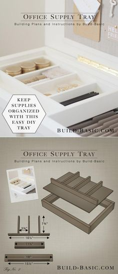 DIY Office Supply Tray | Easy Woodworking Projects