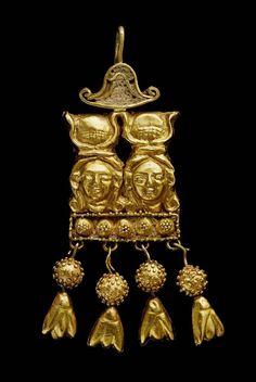 Gold double Hathor earring. Nubian , 90 B.C.–50 A.D. Gold, enamel....#hiphop #beats updated daily => http://www.beatzbylekz.ca