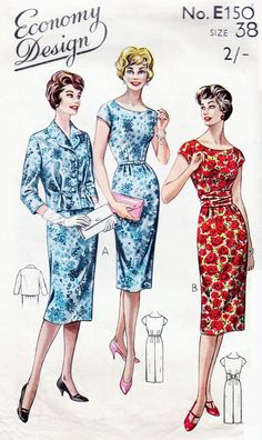 Economy Design E150 - 1960s Sewing Pattern - Size 38 Bust - Misses Dress and Single Breasted Jacket     I have scanned and cropped the back