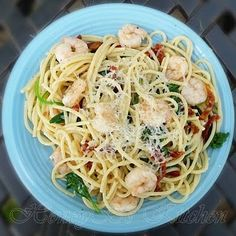 The Life & Loves of Grumpy's Honeybunch: Garlic Shrimp with Spinach and Vermicelli - Weight Watchers Recipe