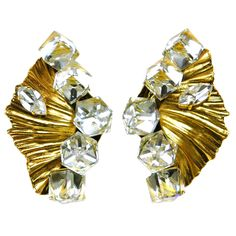 1stdibs | YVES SAINT LAURENT Vintage Gold Clip On Earrings with Crystals
