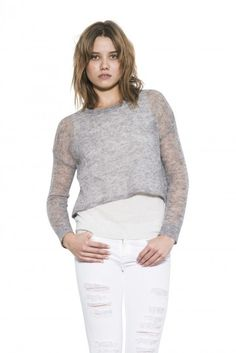 One Grey Day Womens Long Sleeve Grey Combo Cassie Pullover Luxe Sweater Cassie, Pullover Sweaters, White Jeans, Turtle Neck, Knitting, Grey, Long Sleeve, Pants, Stuff To Buy