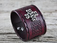 Gothic Cross Leather Cuff by Northernleather on Etsy, Leather Bracelets, Leather Chain, Leather Tooling, Leather Jewelry, Leather And Lace, Leather Crafts, Leather Projects, Custom Leather, Celtic Knot