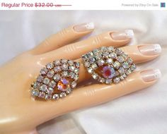 Vintage ALL AB Rhinestone Earrings ~ Pink & Clear Rainbows, Clip-On Ear-Climbers by MarlosMarvelousFinds, $27.20  Entire Shop is on Sale Through July 7th! 15% OFF Everything!