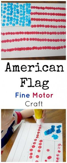 This of July flag craft with dot markers is simple, but as my preschool son said, It's funner than I thought it would be! American Flag Fine Motor Craft This of July flag craft with dot markers is simple, but as my son said, Patriotic Crafts, July Crafts, Holiday Crafts, Patriotic Party, Toddler Art Projects, Toddler Crafts, Preschool Crafts, Crafts Toddlers, Children Crafts