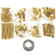 """With Boxed Picture Hanging Kit, you can hang any of your favorite framed decor with ease! Housed in a plastic divided case, this set contains things zinc and brass plated hangers, nails, and wire to attach to the back of canvases and frames! Showcase your fabulous style!     Kit Contains:    10 - Screw Eye 3/4"""" Brass Plated  24 - 10lb Picture Hanger With Nail Brass Plated  18 - 20lb Picture Hanger With Nail Brass Plated  14 - 30lb Picture Hanger With Nail Brass Plated  8 - 50b Picture Hanger… Diy Projects Videos, Fun Projects, Plate Hangers, Picture Hangers, Print Coupons, Dorm Decorations, Canvases, Hobby Lobby, All Art"""