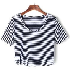 Blue And White Striped Short Sleeve Crop T-shirt (€18) ❤ liked on Polyvore featuring tops, t-shirts, shirts, short sleeve shirts, short sleeve tops, striped shirt, cotton t shirts and short sleeve tee
