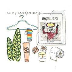 • on my bedroom shelf • Cut Pineapple, Shelves In Bedroom, Food Illustrations, Shelf, Drawings, Artist, Recipes, Sketches, Shelves