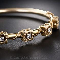 Victorian Retrospective Gold and Diamond Bangle Bracelet