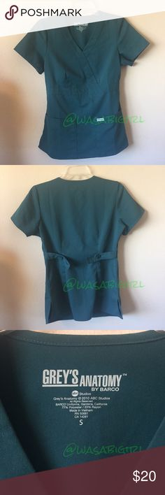 Grey's Anatomy Scrubs Grey's Anatomy by Barco scrubs with slightly fitted shape. Two button holes on each tie back allow for adjustable fit around the waist. Two front pockets. Color is a green teal, lady picture is closest color. All pics taken in room with natural light. 🚫No Trades Barco Tops