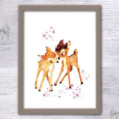Bambi and Faline poster Bambi watercolor print Disney wall