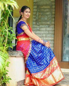 Pattu Saree Blouse Designs, Half Saree Designs, Bridal Blouse Designs, Lehenga Designs, Half Saree Lehenga, Lehenga Choli Online, Saree Dress, Bridal Silk Saree, Bridal Lehenga Choli