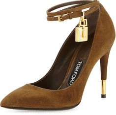 Tom Ford Suede Padlock Ankle-Strap Pump, Brown on shopstyle.com