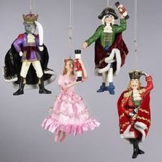 """$139.99-$174.99 Pack of 12 Nutcracker Suite Christmas Ornaments Item #W20227  Ornaments are hand-crafted with superb attention to detail Each ornament features fabric detailing on their clothing Fully dimensional ornaments Come ready-to-hang on gold cords  Approximate dimensions: 7.75""""H x 3.75""""W Material(s): resin/plastic/fabric/man-made materials  Pack of 12 - includes 3 of each ornament shown"""
