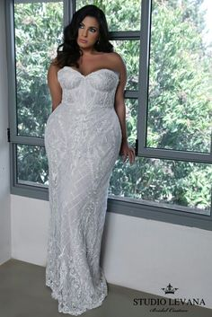Strapless Corset Lace Mermaid Wedding Gown Madelene Studio Levana Plus Size Gowns