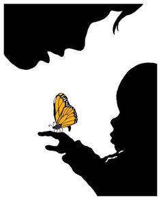 Decor Accessories Popular Artwork for Boys Limited Edition Mother and Child with Butterfly Giclee Print at PoshTots Paper Cutting, Butterfly Canvas, Butterfly Kisses, Childrens Artwork, Frog Art, Silhouette Art, Mother And Child, Child Baby, String Art