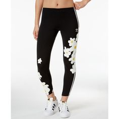 adidas Originals Kauwela Printed Leggings ($40) ❤ liked on Polyvore featuring pants, leggings, black, legging pants, daisy print leggings, adidas pants, adidas and daisy pants