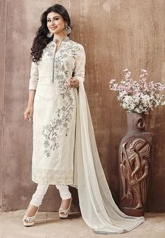 2474ed18a Buy Embroidered Straight Cut Poly Cotton Suit in Off White online,Item  code: KYE236