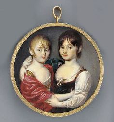 ITALIAN SCHOOL, circa 1800 Two young girls waist-length, embracing, the blonde one facing right in white dress, gilt belt and red shawl, the brown-haired one in jewel-set ochre dress and white shirt, green shawl