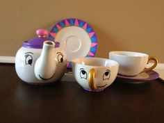 Hand Painted Mrs. Potts Tea Set - Beauty and the Beast by CaptivatingCanvases on Etsy https://www.etsy.com/listing/210126058/hand-painted-mrs-potts-tea-set-beauty