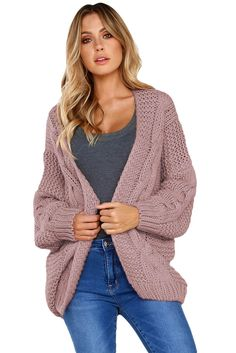Shop Online The Latest Fashion Pink Chunky Wide Long Sleeve Knit Cardigan Cardigan En Maille, Chunky Knit Cardigan, Shrug Cardigan, Cardigan Sweaters, Cardigans For Women, Strick Cardigan, Knitted Coat, Cardigan Fashion, Pen And Wash