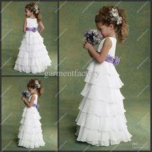 Flower Girl vestidos de Chiffon branco e roxo camadas andar de comprimento crianças vestido para casamento vestido de festa(China (Mainland))