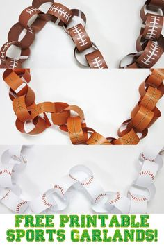 Sports themed party coming up? Need some garlands to hang up and make things festive! I've got you covered with three free printable sports garlands - football, basketball, and baseball. These are perfect for a kids' party but let's face facts - sports pa Baseball Birthday Party, Basketball Party, Ball Birthday Parties, Basketball Birthday, Sports Birthday, Sports Party, Birthday Ideas, Birthday Crafts, Birthday Games