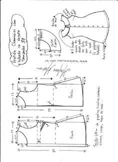 Dress pattern  Esquema de modelagem de vestido chamesier com babado tamanho 38.