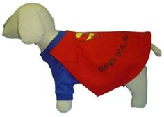 $34.95 - Super hero PAWfection for your pets! The #Super #Dog #Costume features a blue, pull-over body with red cape.   Sizes 0-6.  Matching #SuperDog crystal collar is available too at Sugar Chic Couture:  https://www.sugarchiccouture.com/ProductDetails.asp?ProductCode=SMDC-036  #manofsteel #superhero  #dogs #shop #gifts #cute #buy