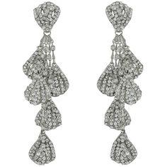 Siman Tu Pave Multi Drop Earrings ($381) ❤ liked on Polyvore featuring jewelry, earrings, earring jewelry, post drop earrings, post back earrings, drop earrings and siman tu earrings