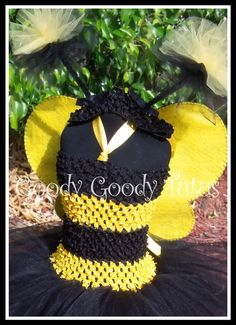 MY BABY BUMBLEBEE Black and Yellow Striped Crocheted Tutu Dress with Glittery Wings and Antennae 6-24mos. $65.00, via Etsy.
