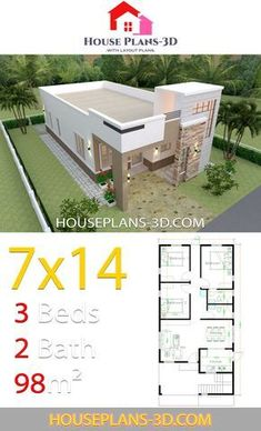 House Design with 3 Bedrooms Terrace Roof - House Plans House Design with 3 Bedrooms Terrace RoofThe House has:-Car Parking and garden-Living room,-Dining Bedrooms, 2 bathrooms Model House Plan, House Layout Plans, Dream House Plans, House Layouts, Small House Plans, Bungalow Haus Design, Modern Bungalow House, Bungalow House Plans, Simple House Design