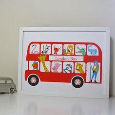 Items similar to Personalised London Bus Nursery Print - London zoo print -Baby Birth Print on Etsy Baby Prints, Nursery Prints, Nursery Art, Nursery Ideas, London Red Bus, Illustrations Vintage, Big Red Bus, Thing 1, Art Wall Kids