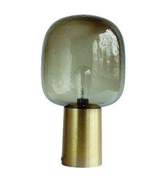 Housedoctor Tafellamp Note vergrijsd glas goud aluminium ø28x52cm - wonenmetlef.nl