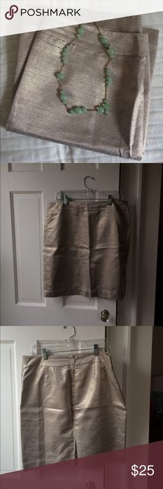 LOFT gold shimmery skirt LOFT gold shimmery skirt. Worn once.  In EUC.  Comes from a pet- free, smoke-free home. LOFT Skirts