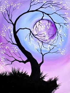 23 Trendy Diy Christmas Paintings On Canvas Projects Christmas Paintings On Canvas, Art Abstrait, Learn To Paint, Tree Art, Painting Inspiration, Painting & Drawing, Moon Painting, Drawing S, Watercolor Art