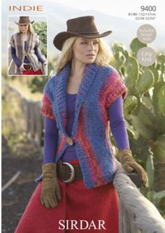 Sirdar Ladies Waistcoats Indie Knitting Pattern 9400 Super Chunky | Knitting | Patterns | Minerva Crafts